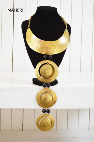 African brass metal necklace handmade traditional jewelry naheri