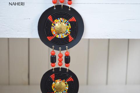African beaded necklace tiered maasai tribal zulu jewelry naheri