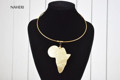 African map pendant brass metal necklace tribal jewelry naheri