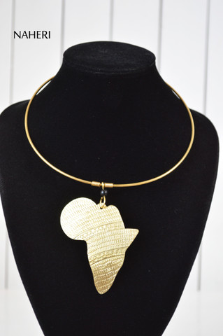 African map pendant brass metal necklace tribal jewelry