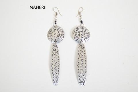 African inspired metal jewelry engraved tribal earrings naheri jewelry