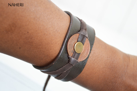 African inspired leather bracelet handmade tribal jewelry naheri