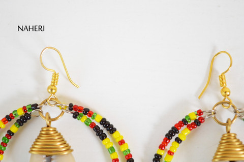 African beaded earrings with cowrie shell rasta color beads