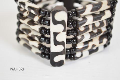 Tribal print African inspired bone bracelet elastic