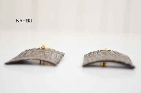 African inspired engraved horn earrings naheri jewelry