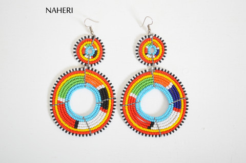 African beaded maasai earrings multicolored jewelry naheri handmade