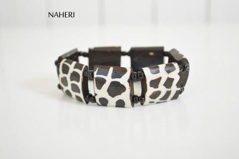 African tribal bone bracelet handmade with elastic naheri