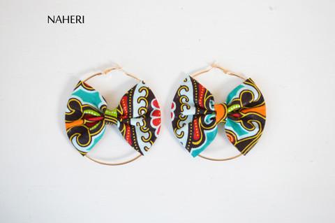 African print bow earrings handmade tribal fashion jewelry naheri