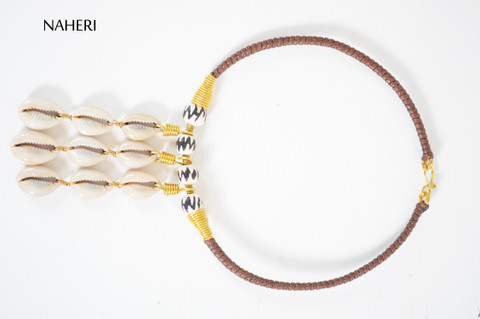 African inspired necklace tribal pendant bone and cowrie jewelry
