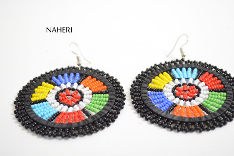African black zulu beaded round earrings