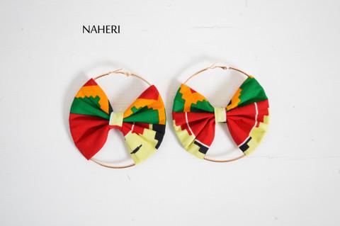 African kente print bow earrings handmade jewelry