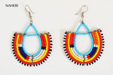 Beaded trendy maasai hoop earrings