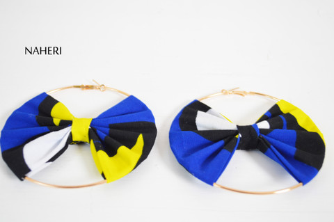 African print earrings bow tie handmade jewelry