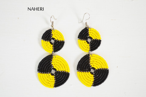 African beaded earrings yellow and black jewelry