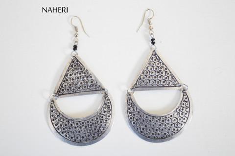 African boho style silver earrings trendy jewelry naheri