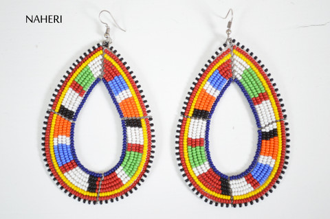 African beaded maasai hoop earrings trendy
