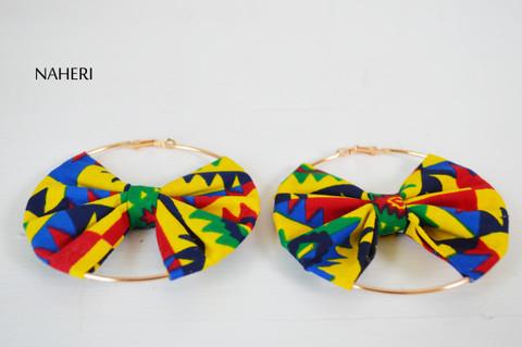 African fabric earrings bow tie handmade jewelry