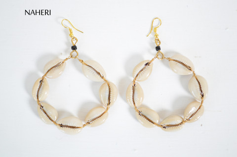 African cowrie shells earrings round shaped