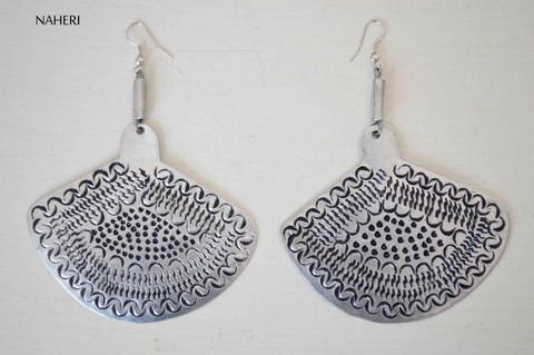 African inspired silver metal earrings engraved jewelry