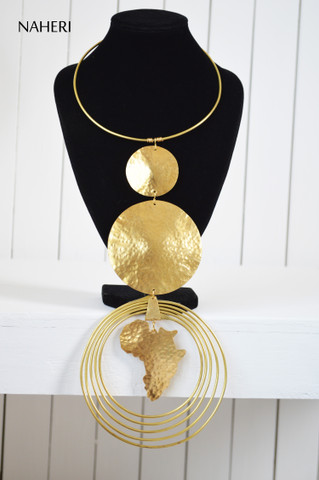 African metal necklace brass map handmade jewelry naheri