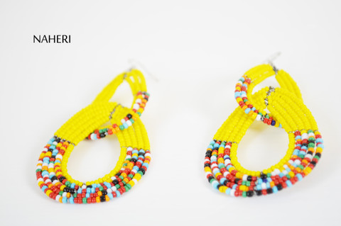 African beaded maasai double hoop earrings yellow