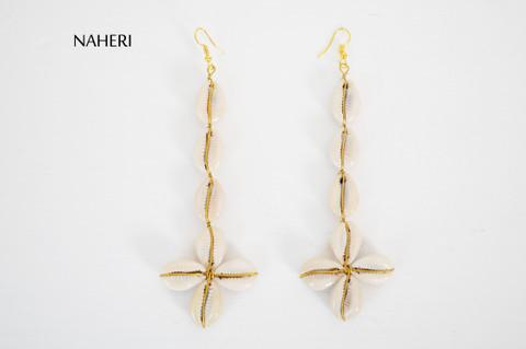 African long cowrie shells earrings tribal handmade jewelry naheri