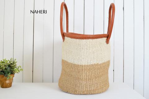 African hand made sisal and leather handbag naheri