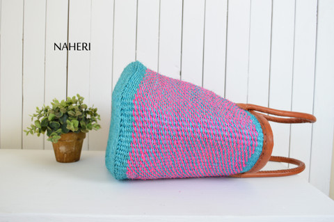African hand made bag sisal and leather accessories naheri