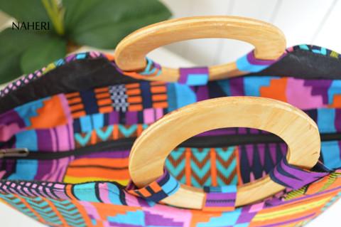 African kente print tribal round handles handbag naheri