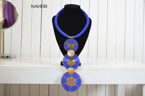 African jewelry royal blue tiered pendant necklace naheri