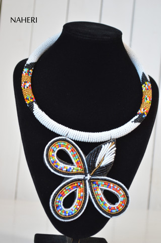 African necklace zulu pendant jewelry white naheri