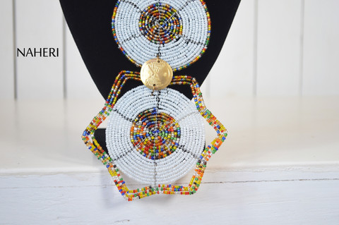 African beaded tribal pendant necklace white jewelry naheri