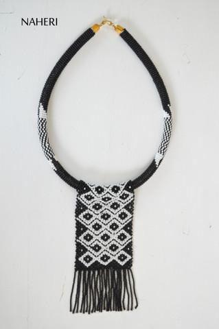 African beaded fringe necklace black white tribal naheri