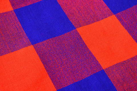 African Maasai Shuka red and blue plaid