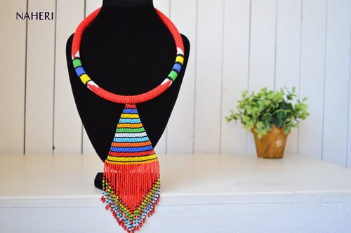 Red African beaded necklace with fringe pendant