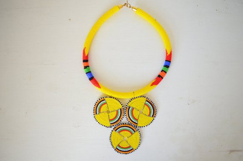 African inspired yellow tribal necklace.