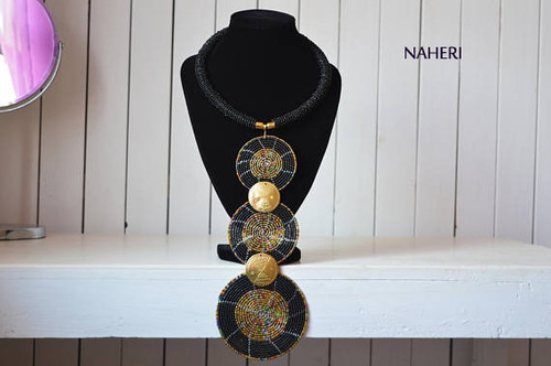 African tiered pendant necklace black with brass