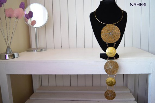 African beads and brass pendant necklace copper jewelry