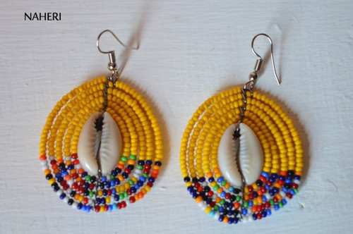 African earrings beaded maasai yellow with cowrie shell