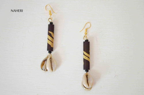 African inspired earrings tribal cowrie shells