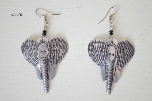 African silver earrings elephant jewelry