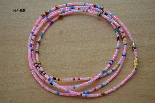 African beaded pink multi color waist beads