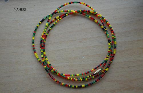 African beaded waist beads red green yellow black