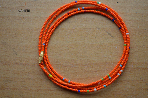 African dark orange with mixed color waist beads