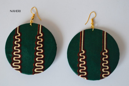 African print fabric round earrings dark green