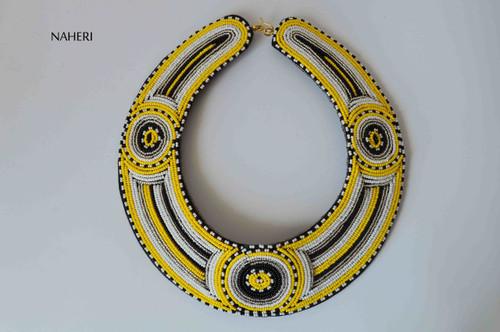 African bib collar necklace maasai beaded jewelry