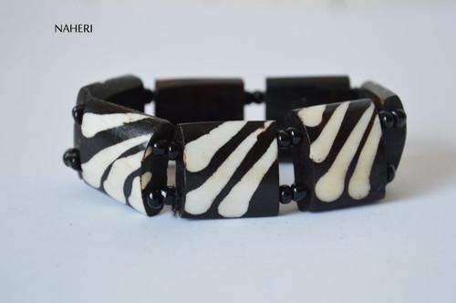 African beaded bone bracelet with elastic