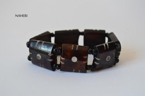 African beaded engraved bone bracelet with elastic