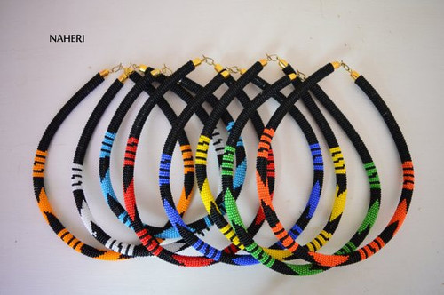 African maasai/zulu tribal beaded necklaces with black