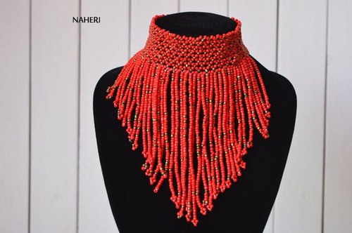 African choker necklace beaded jewelry